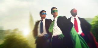 Концепция команды городского пейзажа бизнесменов супергероя Стоковое Фото