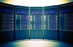 Концепция комнаты серверов хостинга Стоковое Изображение