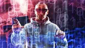 Концепция компьютерного хакера, числа 01 предпосылки Стоковые Изображения
