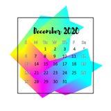 Концепция 2020 конспекта дизайна календаря Декабрь 2020 иллюстрация штока