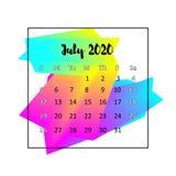 Концепция 2020 конспекта дизайна календаря Июль 2020 бесплатная иллюстрация