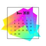 Концепция 2020 конспекта дизайна календаря Июнь 2020 иллюстрация вектора