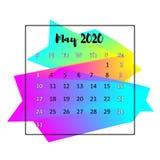 Концепция 2020 конспекта дизайна календаря Май 2020 иллюстрация штока