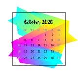 Концепция 2020 конспекта дизайна календаря Октябрь 2020 иллюстрация штока