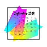 Концепция 2020 конспекта дизайна календаря Сентябрь 2020 иллюстрация вектора