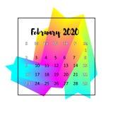 Концепция 2020 конспекта дизайна календаря Февраль 2020 иллюстрация штока