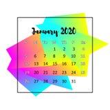 Концепция 2020 конспекта дизайна календаря Январь 2020 иллюстрация штока