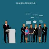 Концепция консультаций по бизнесу, иллюстрация вектора, квартира бесплатная иллюстрация