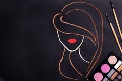 Концепция Контур женщины головной стоковое фото rf