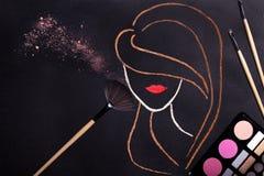 Концепция Контур женщины головной стоковое изображение