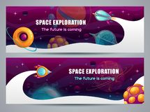 Концепция космического исследования, горизонтальное знамя сети Старт ракеты шаржа стоковая фотография rf