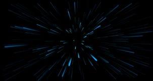 концепция космического полета 4K Гипер скачка через звезды Двигающ со скоростью света, голубые лучи в движении бесплатная иллюстрация