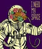 Концепция космоса с астронавтом Стоковые Изображения