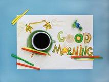Концепция кофе и будильника доброго утра Чашка кофе с будильником нарисованным рукой Стоковое Изображение