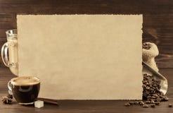 Концепция кофе на древесине Стоковая Фотография