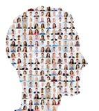 Концепция коллажа людей на человеческом лице стоковое фото