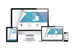 Концепция кодирвоания дизайна вебсайта Реалистическая иллюстрация вектора Стоковые Изображения