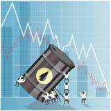 Концепция кризиса нефтедобывающей промышленности Падение в сырой нефти Стоковые Изображения RF
