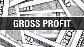 Концепция крупного плана валового дохода Американские доллары денег наличных денег, перевода 3D Валовой доход на банкноте доллара бесплатная иллюстрация