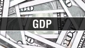 Концепция крупного плана ВВП Американские доллары денег наличных денег, перевода 3D ВВП на банкноте доллара Финансовая реклама по иллюстрация штока