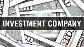 Концепция крупного плана инвестиционной компании Американские доллары денег наличных денег, перевода 3D Инвестиционная компания н иллюстрация вектора