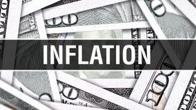 Концепция крупного плана инфляции Американские доллары денег наличных денег, перевода 3D Инфляция на банкноте доллара Финансовая  стоковая фотография