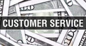 Концепция крупного плана обслуживания клиента Американские доллары денег наличных денег, перевода 3D Обслуживание клиента на банк стоковое фото rf