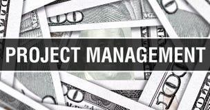 Концепция крупного плана руководства проектом Американские доллары денег наличных денег, перевода 3D Руководство проектом на банк стоковые изображения rf