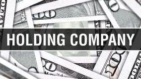 Концепция крупного плана холдинговой компании Американские доллары денег наличных денег, перевода 3D Холдинговая компания на банк иллюстрация штока