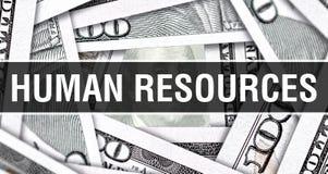 Концепция крупного плана человеческих ресурсов Американские доллары денег наличных денег, перевода 3D Человеческие ресурсы на бан стоковые фото