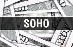 Концепция крупного плана SOHO Американские доллары денег наличных денег, перевода 3D SOHO на банкноте доллара Финансовая банкнота стоковое фото