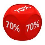 Концепция 70% куба скидки Стоковая Фотография
