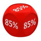 Концепция 85% куба скидки Стоковое фото RF