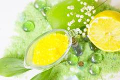 Концепция курорта с зеленой солью для принятия ванны Стоковая Фотография RF