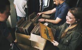 Концепция классики Oldschool музыки магазина показателя винила ходя по магазинам Стоковое Изображение RF
