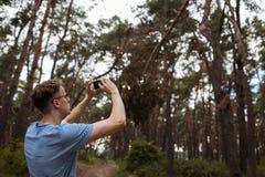 Концепция ландшафта леса фото телефона человека Стоковая Фотография RF