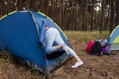 Концепция леса туризма шатра природы релаксации Стоковая Фотография