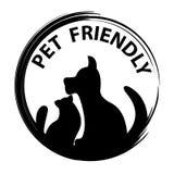 Концепция любимчика дружелюбная Черные силуэты собаки и кошки стоковые изображения