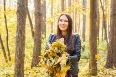 Концепция людей, осени и сезона - женщина держа упаденные листья в ее руках в лесе стоковые изображения