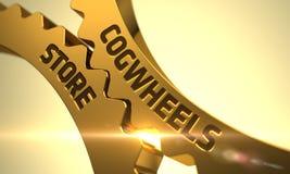 Концепция магазина Cogwheels зацепляет золотистое иллюстрация 3d Стоковые Изображения