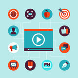 Концепция маркетинга вектора видео- в плоском стиле Стоковое Изображение RF
