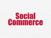 Концепция маркетинга: Социальная коммерция на предпосылке стены Стоковые Фотографии RF