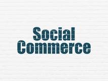 Концепция маркетинга: Социальная коммерция на предпосылке стены Стоковые Изображения