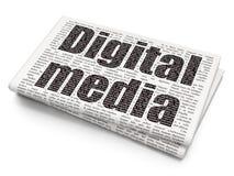 Концепция маркетинга: Средства массовой информации цифров на предпосылке газеты стоковое изображение