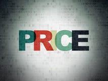 Концепция маркетинга: Цена на предпосылке бумаги цифровых данных стоковые изображения rf