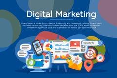 Концепция маркетинга цифров Развитие биснеса, поколение руководства Социальная связь системы и средств массовой информации Развит Стоковое Изображение RF