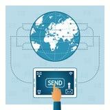 Концепция маркетинга электронной почты в плоском стиле Стоковые Фото