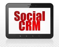 Концепция маркетинга: Tablet компьютер ПК с социальным CRM на дисплее Стоковые Фотографии RF