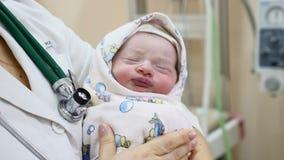 Концепция материнства домашняя Как раз-рожденный младенец на руках доктора ребенок 2-hours уснувший жизнь принципиальной схемы но сток-видео