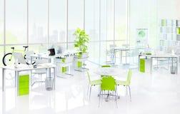 Концепция мебели зеленого офиса внутренняя стоковые изображения